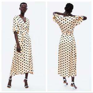 NWT Zara Polka Dot Wrap Dress Size XS, S, M, L, XL